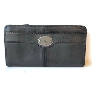 Slate Gray Leather Fossil Zip Accordion Wallet EUC